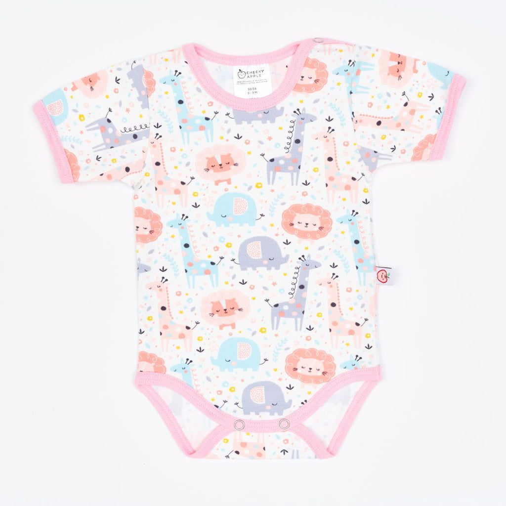 "Organic shortsleeve baby body ""Mini Jungle Rose"" made from 95% organic cotton and 5% elastane"
