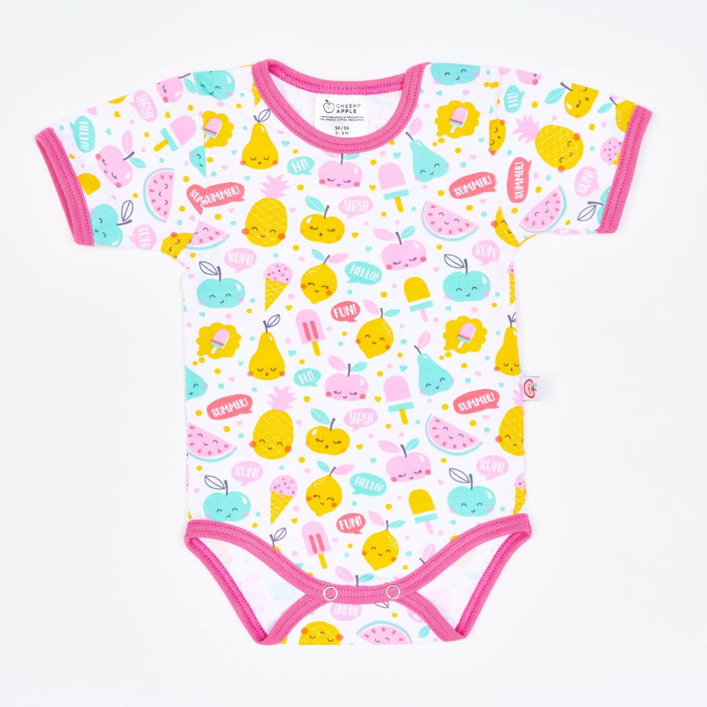 "Organic shortsleeve baby body ""Yummy"" made from 95% organic cotton and 5% elastane"