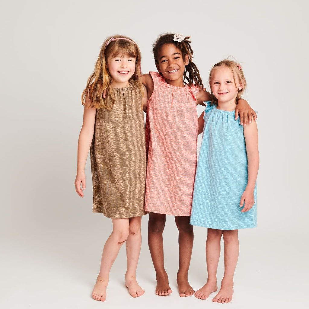 "Organic a-line dress Dotted Lines Taupe"""" made from 95% organic cotton and 5% elastane"