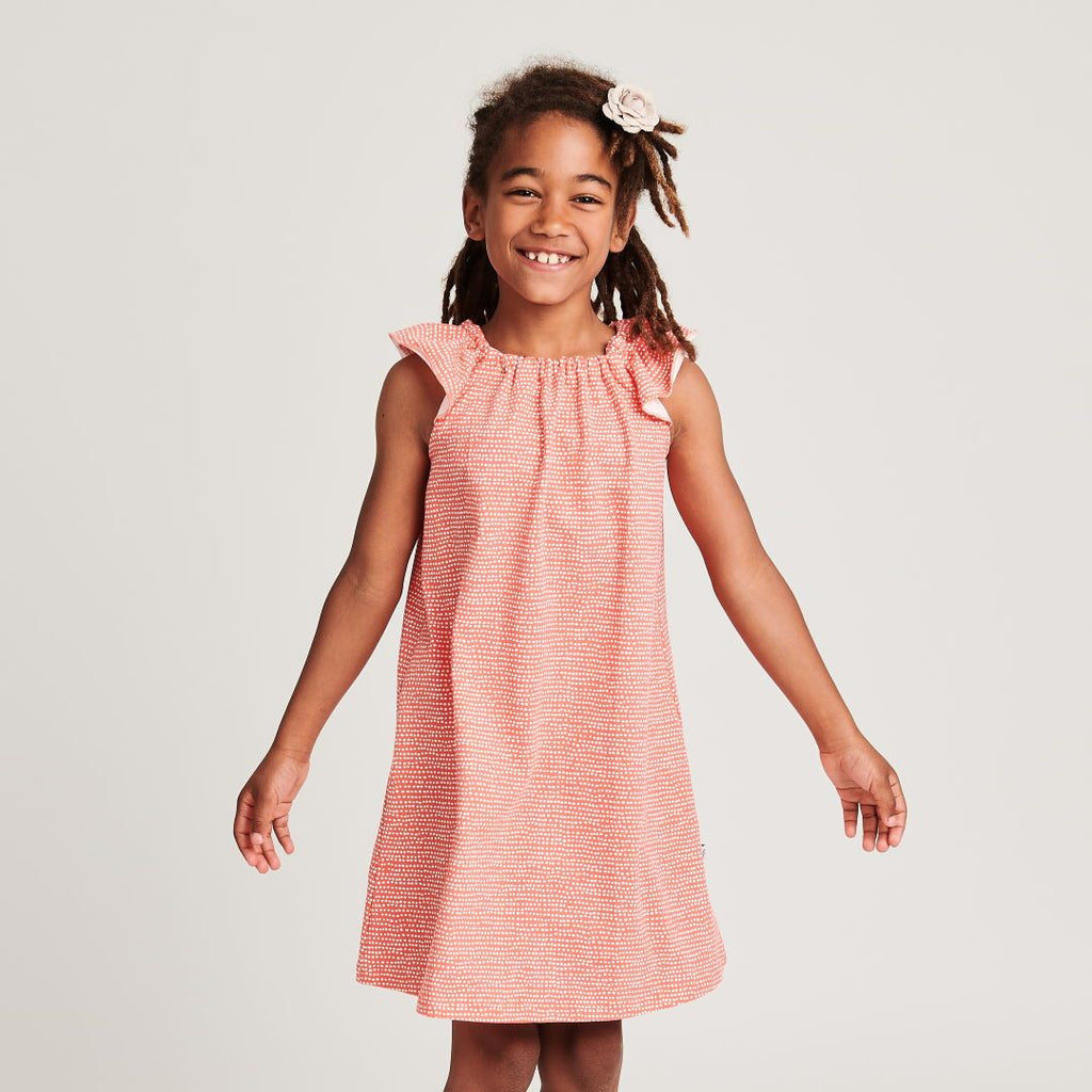 "Organic a-line dress ""Dotted Lines Coral"" made from 95% organic cotton and 5% elastane"