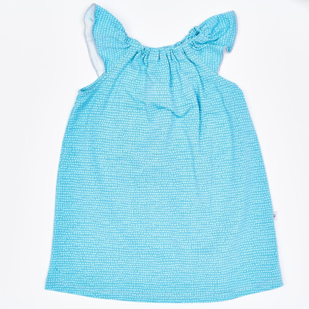 "Organic a-line dress ""Dotted Lines Turquoise"" made from 95% organic cotton and 5% elastane"