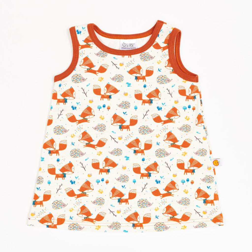 "Sleeveless dress ""Fox & Hedgehog/Rust"""
