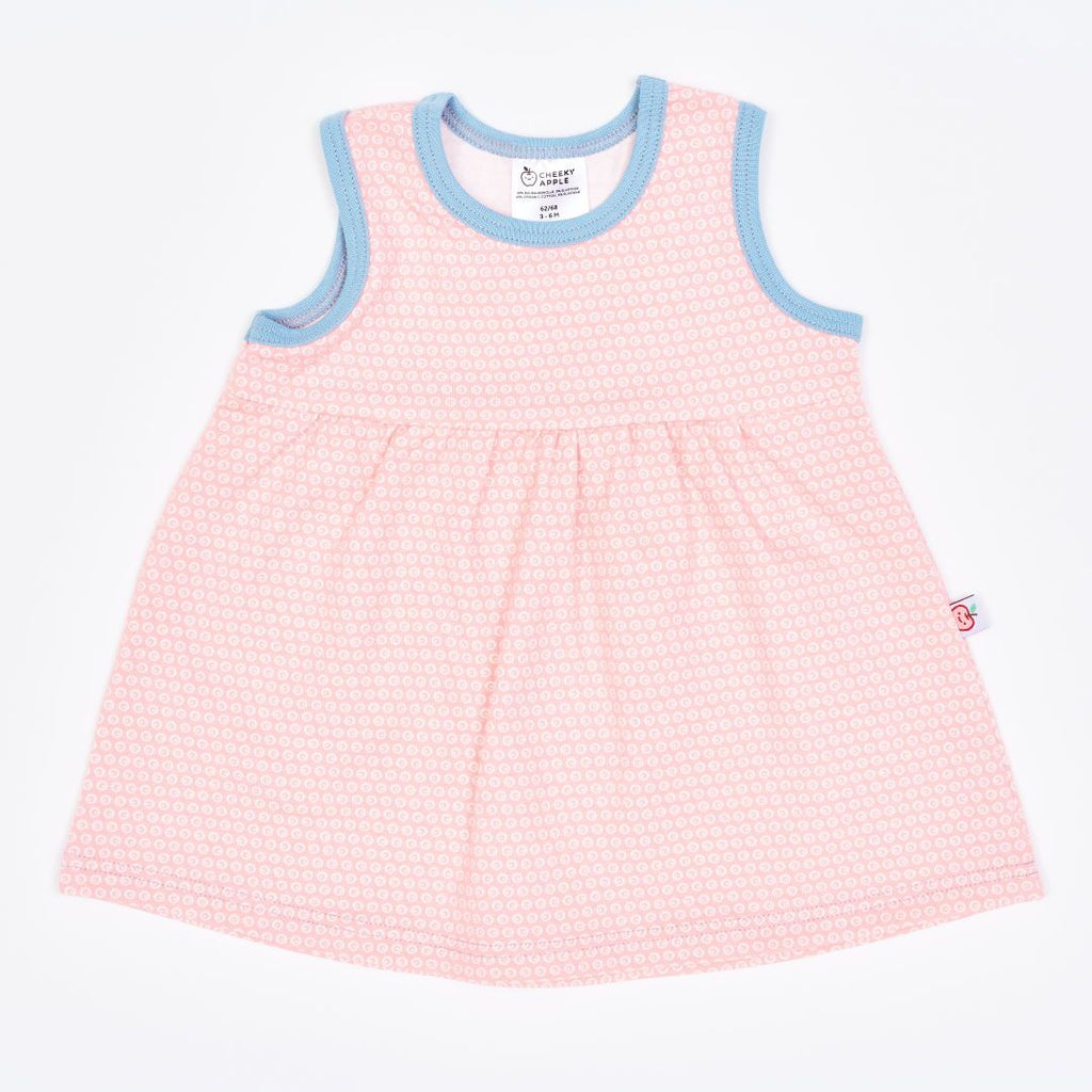"Organic sleeveless dress ""Kuller Peach Rose"" made from 95% organic cotton and 5% elastane"
