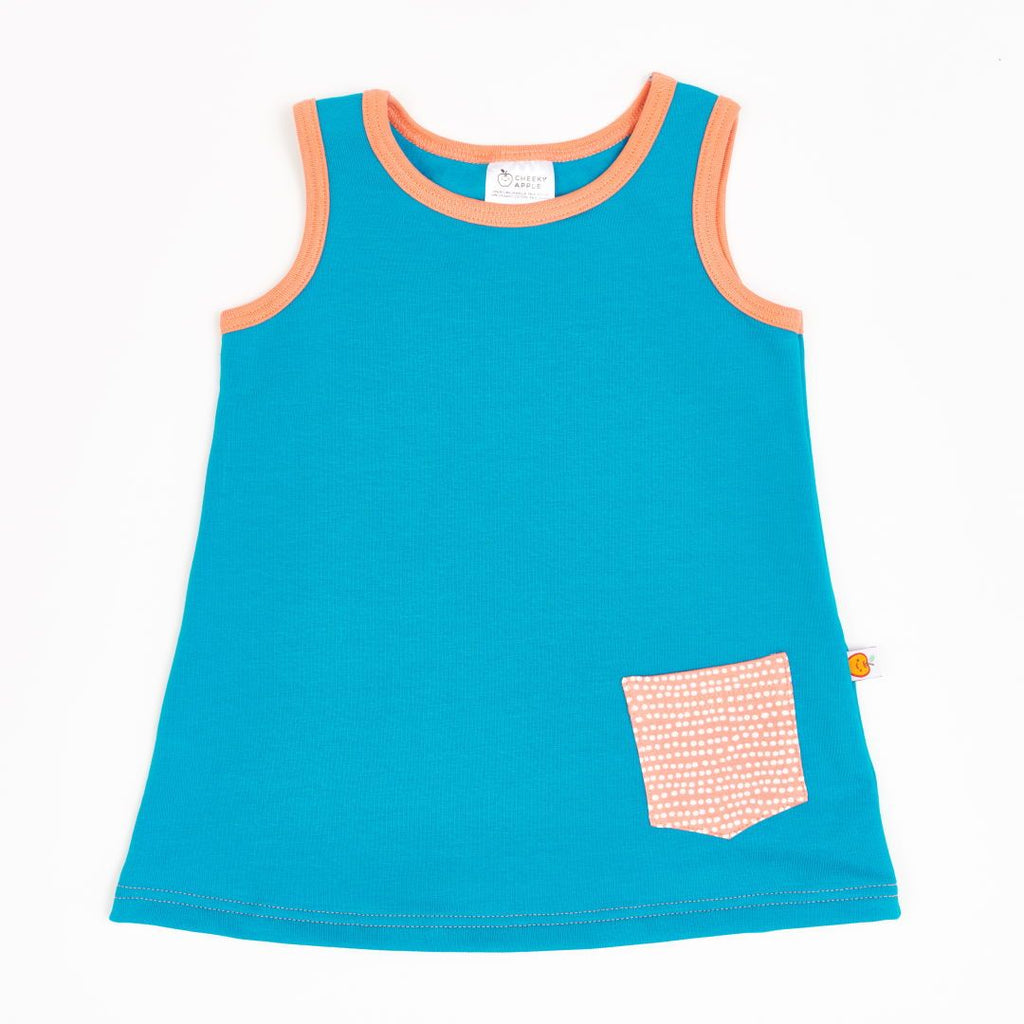 "Sleeveless dress ""Sweat Light Petrol/Dotted Lines Coral"""