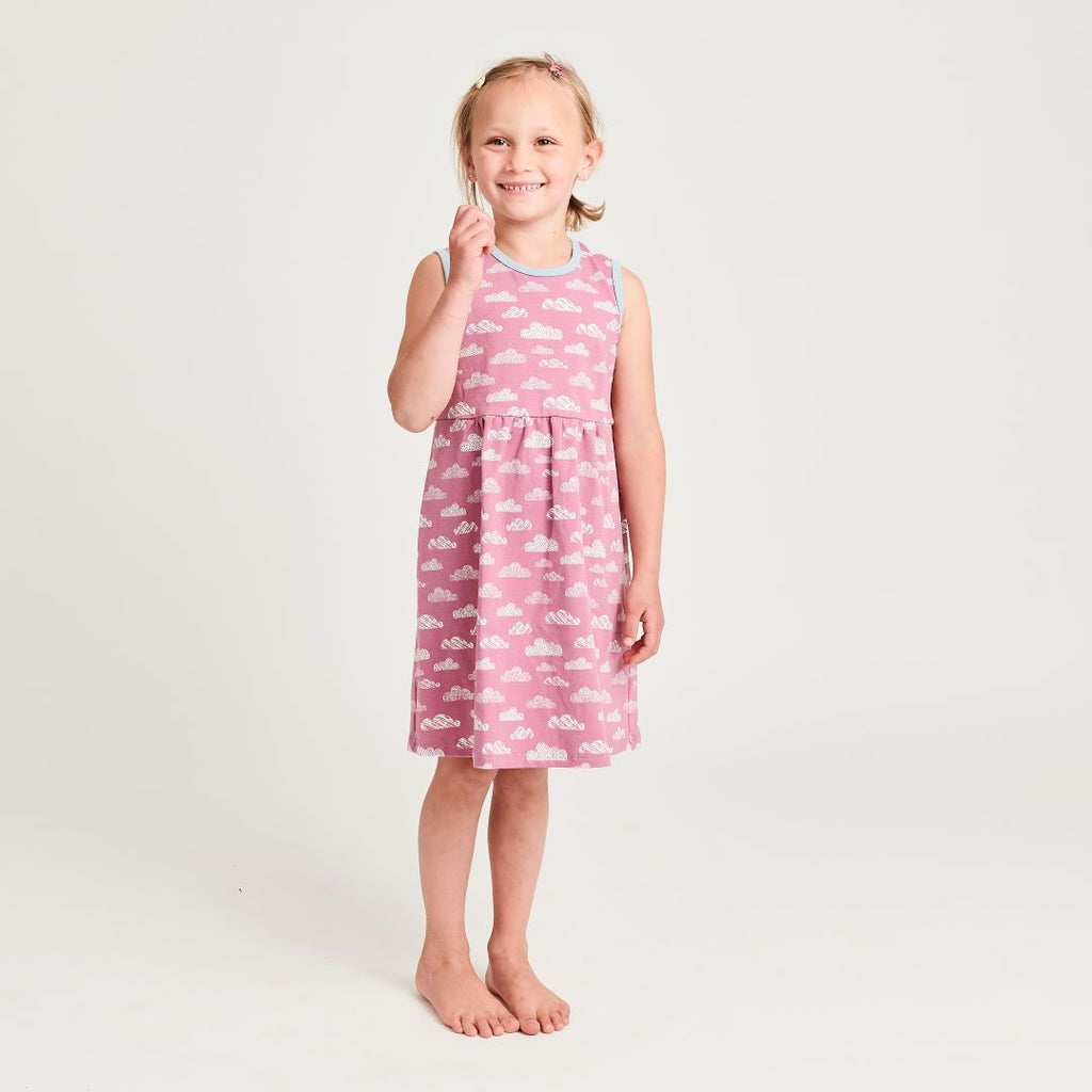 "Organic sleeveless dress ""Clouds Vintage Rose"" made from 95% organic cotton and 5% elastane"