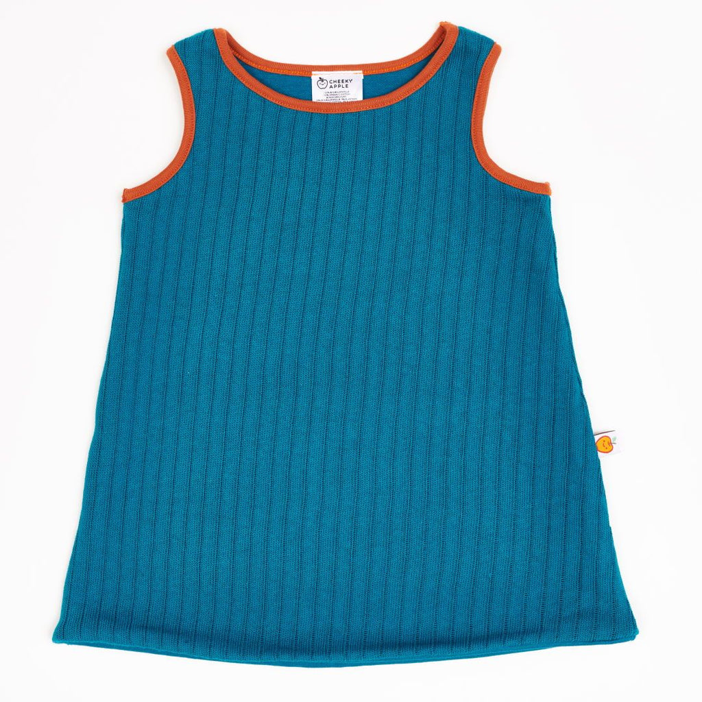 "Reversible dress ""Rib knit Petrol/Jacquard Petrol"""