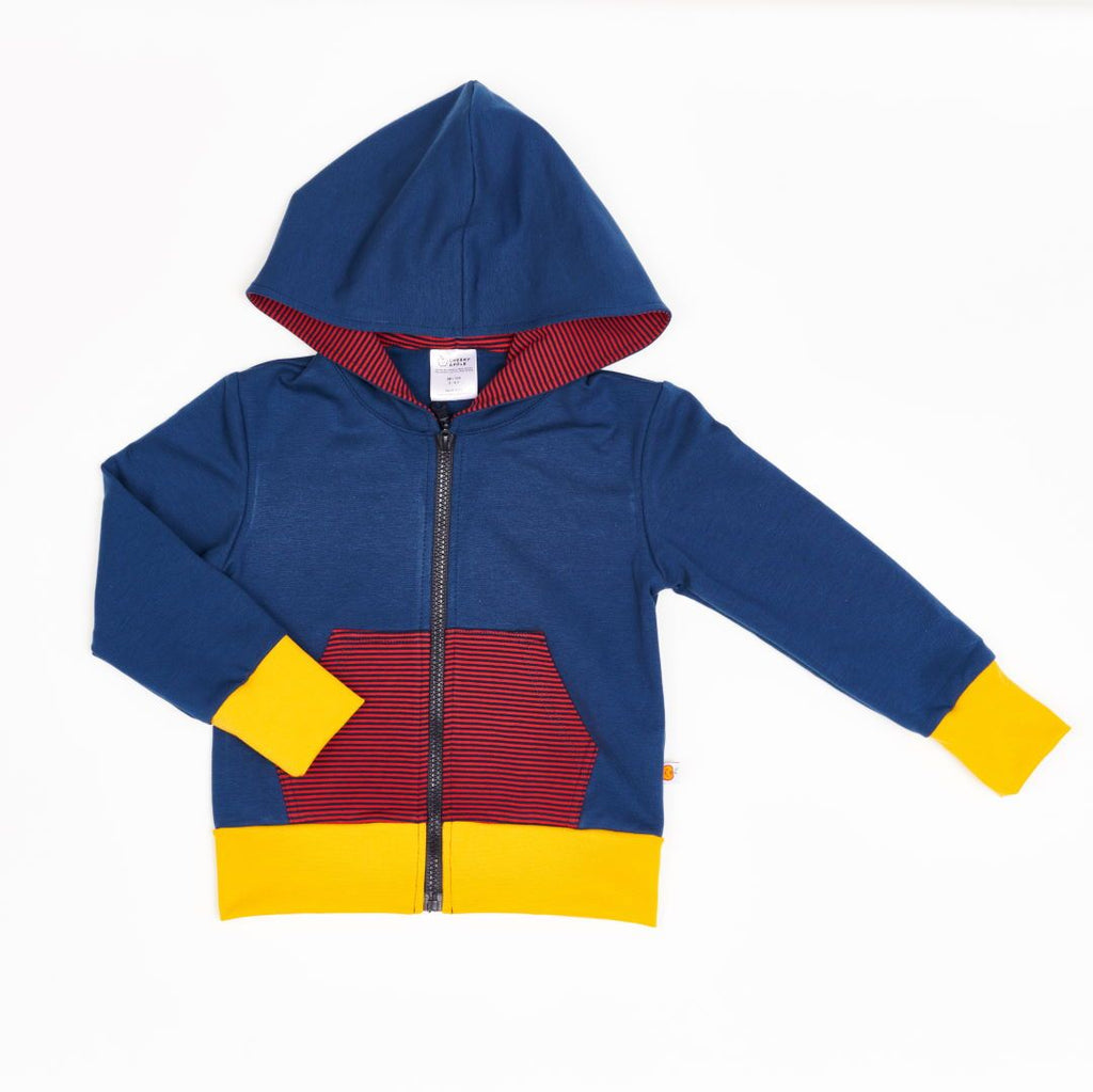 "Sweat Hoodie ""Indigo/Dark blue-red Stripes"""
