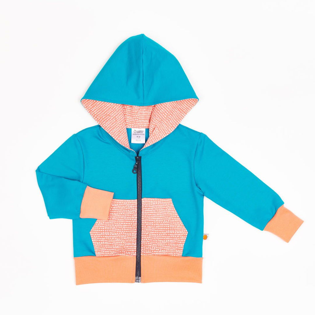 "Sweat Hoodie ""Light Petrol/Dotted Lines Coral"""