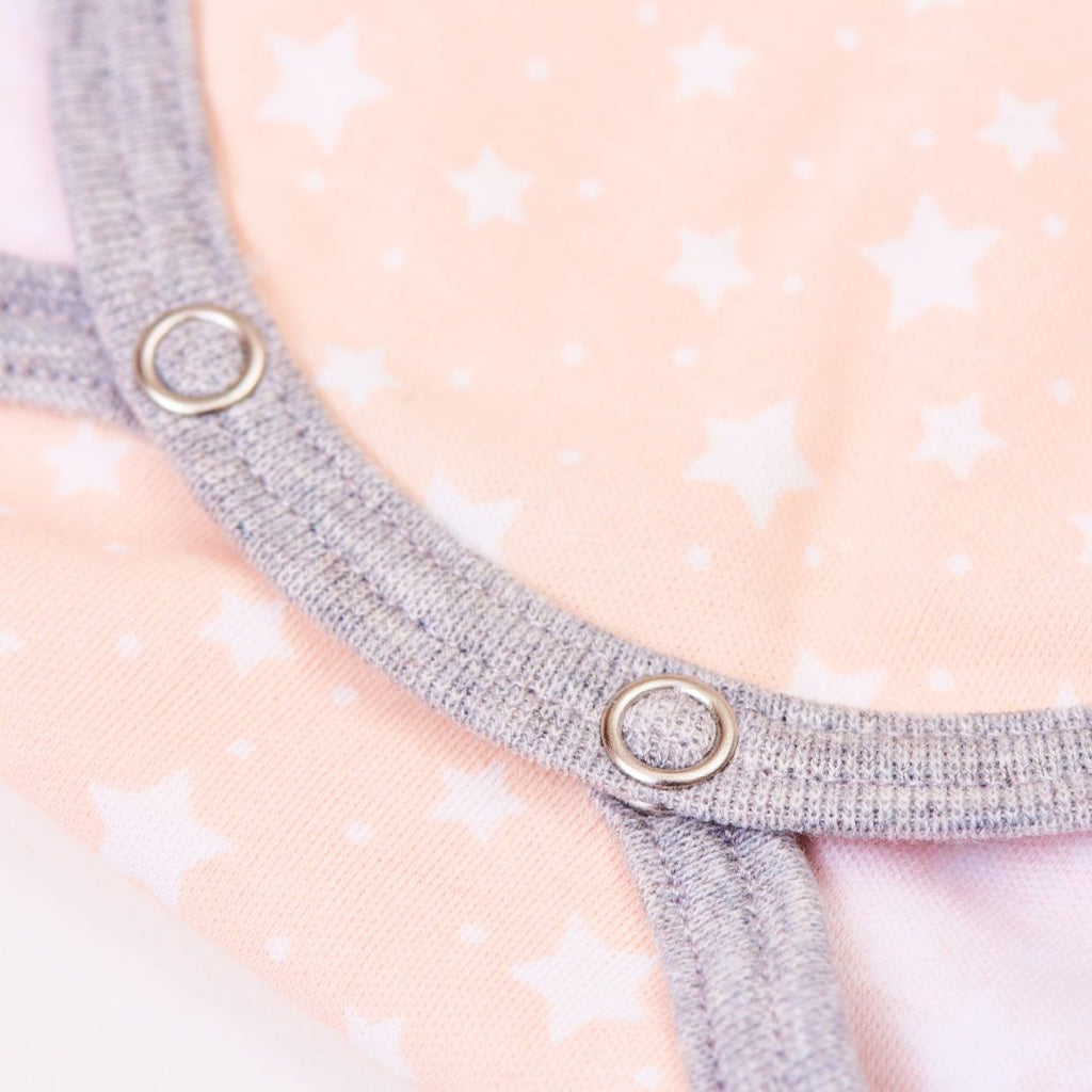 "Long-sleeve baby body ""Starry Sky Peach Blush/Grey"""