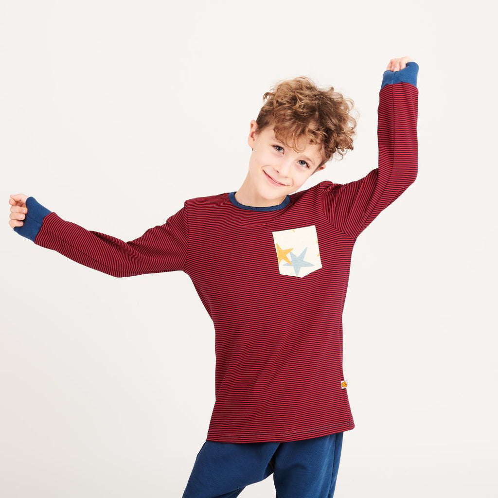 "Boys' Long-sleeve top with pocket ""Dark-blue & red Stripes 