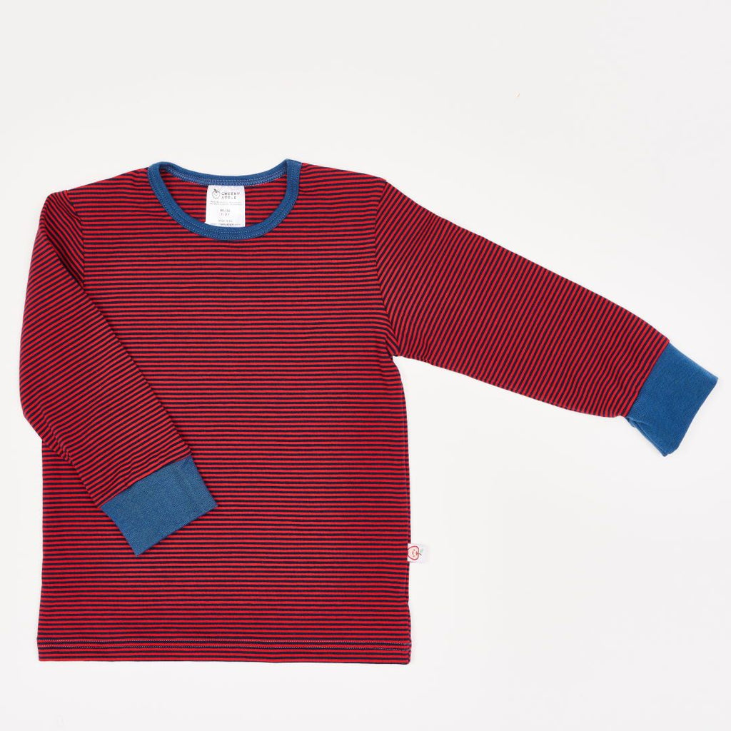"Boys' Long-sleeve top ""dark-blue & red Stripes