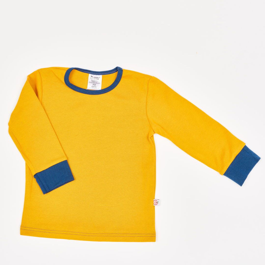 "Boys' Long-sleeve top ""Jacquard Senf/Indigo"""