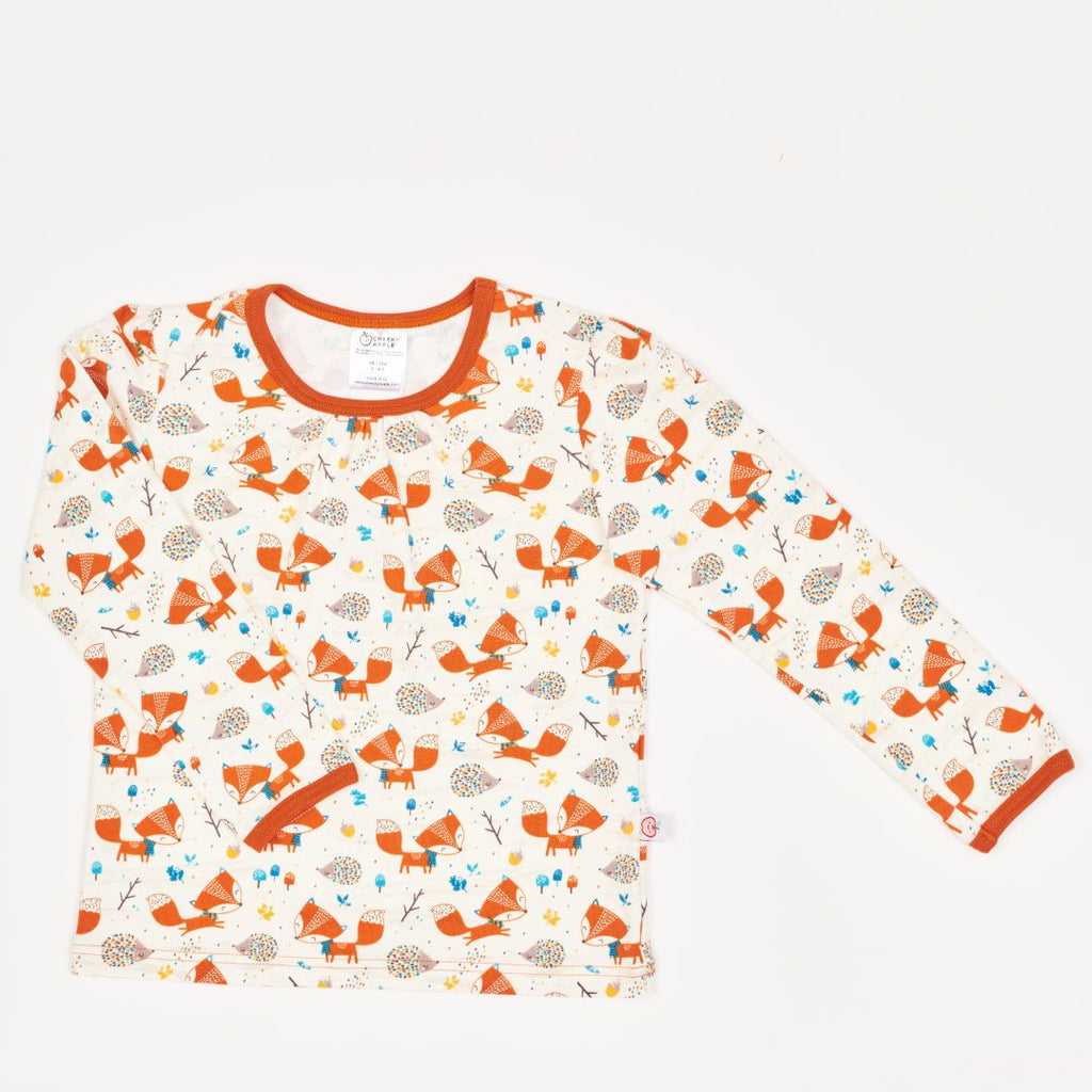 "Girls' Long-sleeve Top ""Fox & Hedgehog/Rust"""