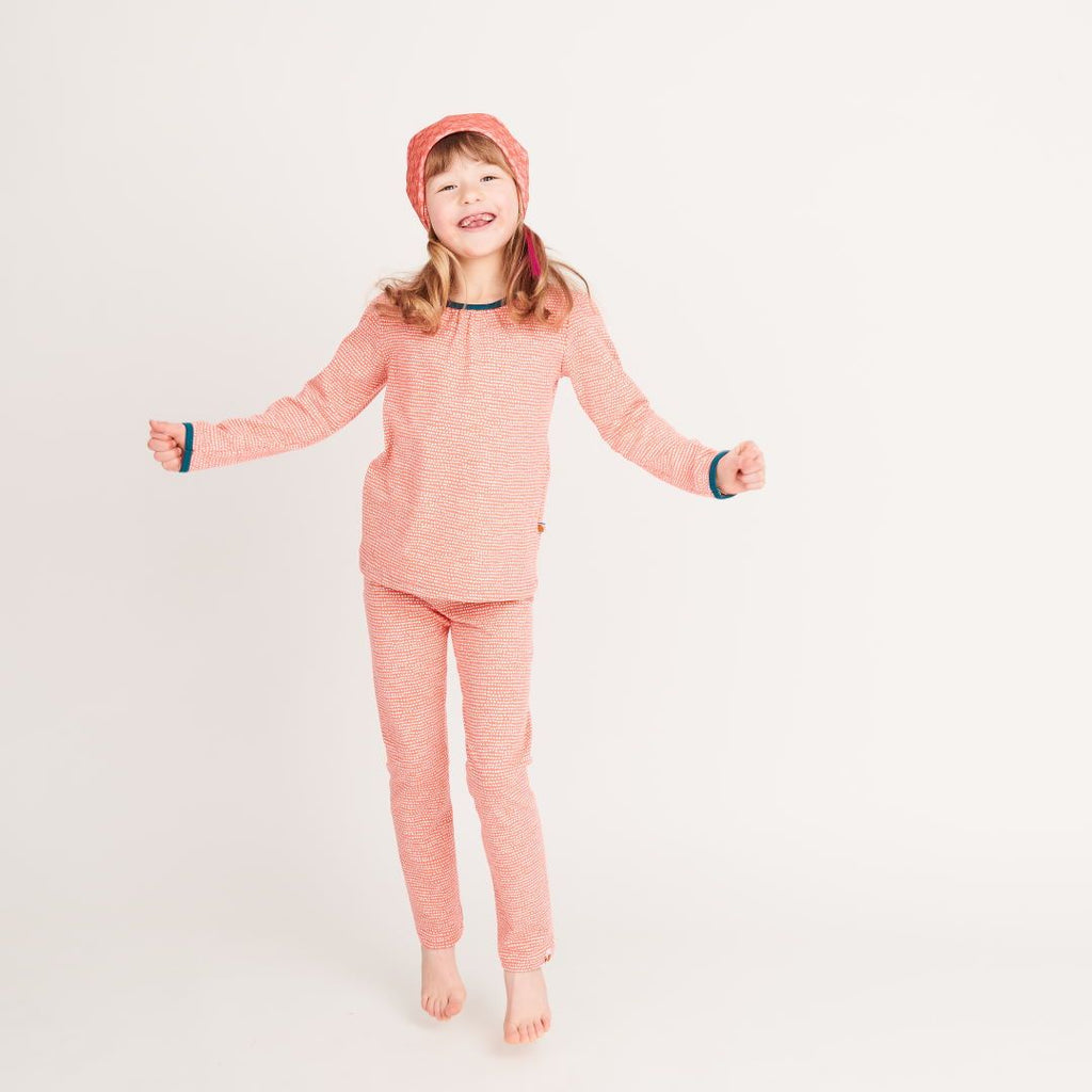 "Girls' Long-sleeve Top ""Dotted Lines Coral/Petrol"""