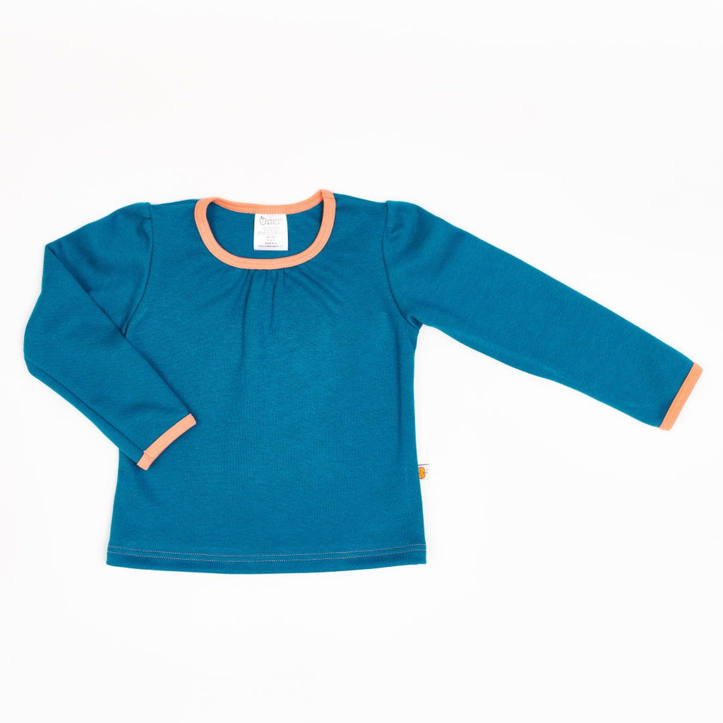 "Girls' Long-sleeve Top ""Jacquard Petrol/Aprikose"""