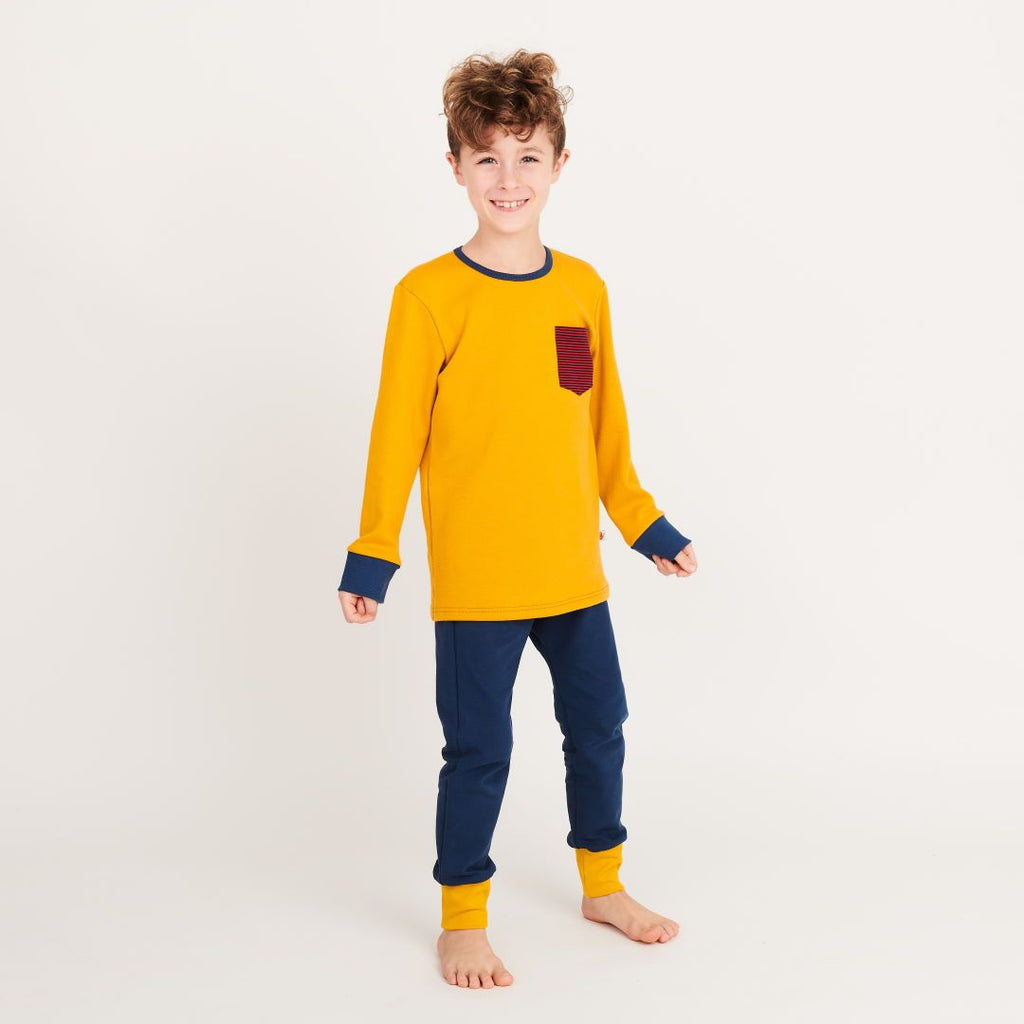 "Boys' Long-sleeve top ""Jacquard Senf/Dark blue & red Stripes"""