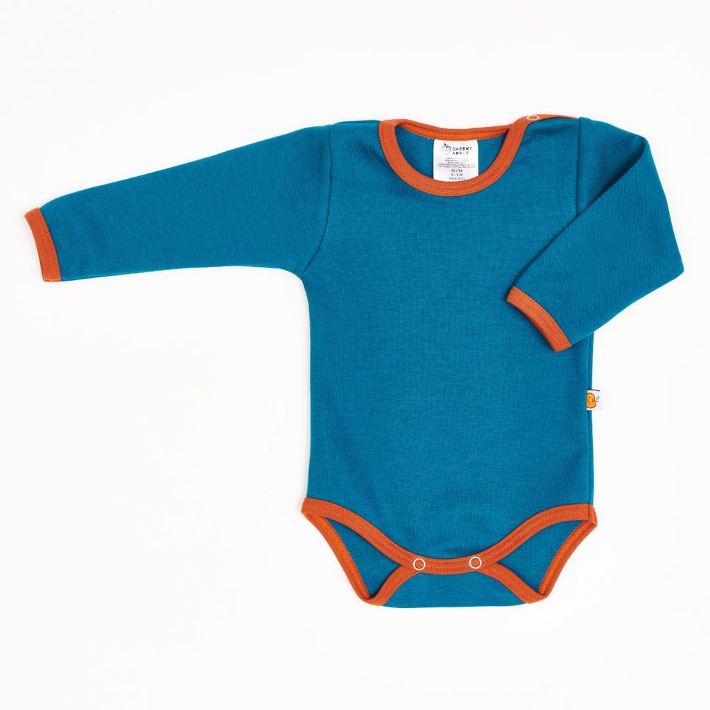 "Long-sleeve baby body ""Jacquard Petrol/Rust"""
