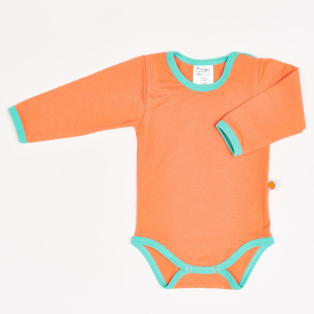 "Long-sleeve baby body ""Apricot/Mint"""