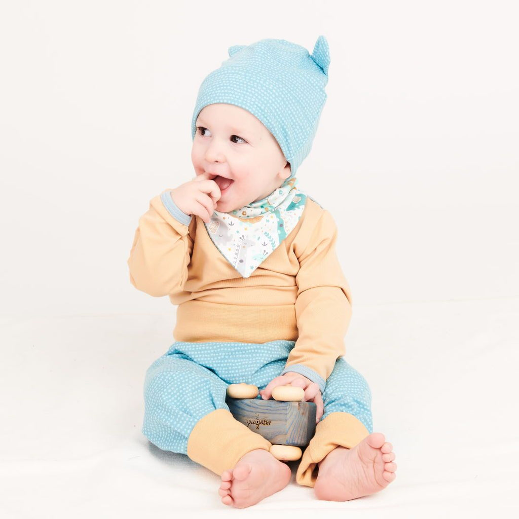 "Lined baby hat with ears ""Dotted Lines Turquoise"""
