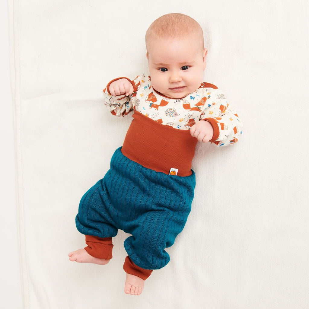 "Long-sleeve baby body ""Fox & Hedgehog/Rust"""
