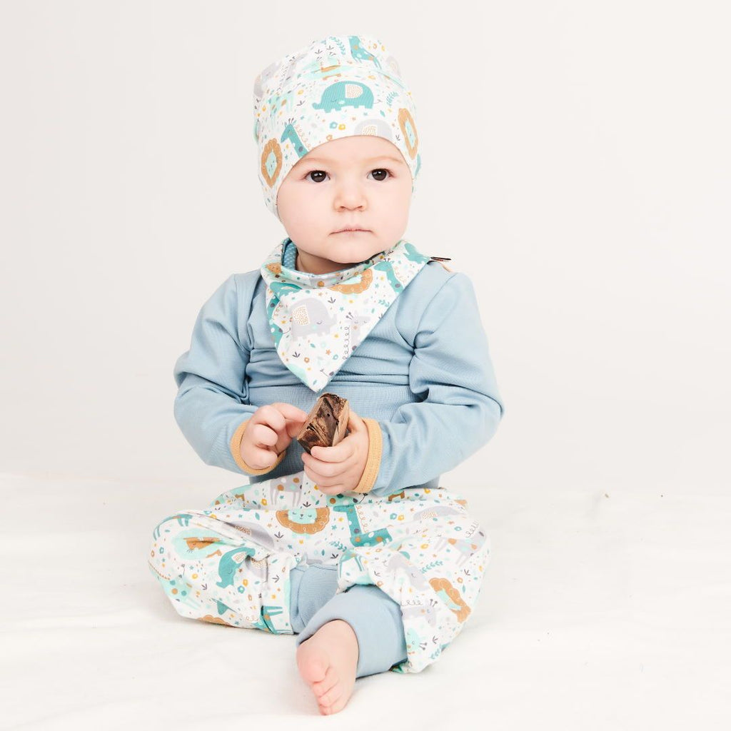 "Long-sleeve baby body ""Frost/Cream"""