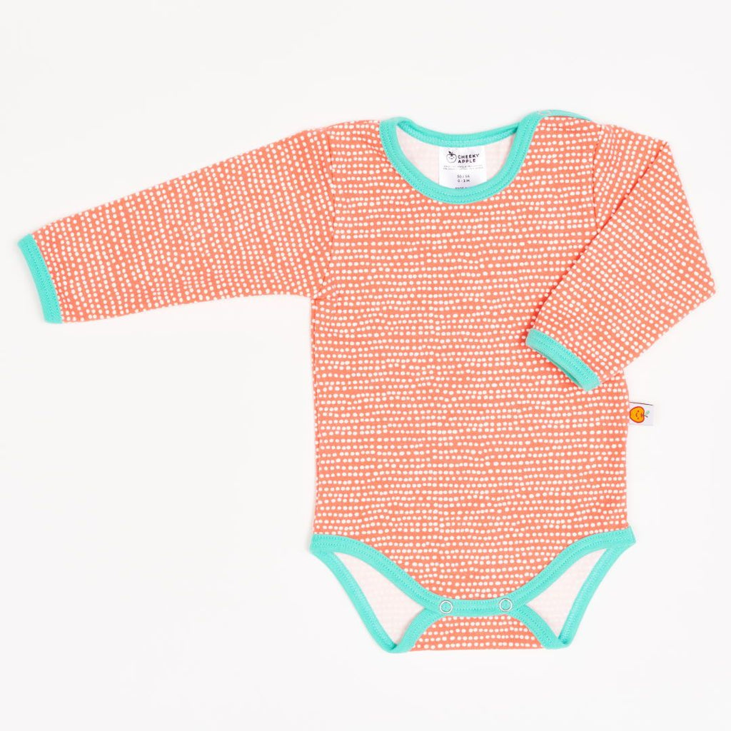 "Long-sleeve baby body ""Dotted Lines Coral/Mint"""