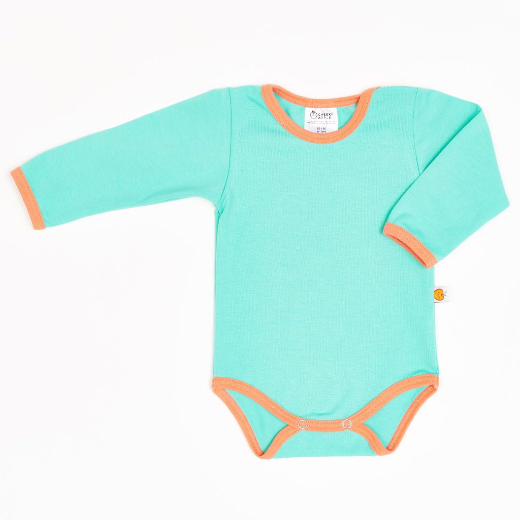 "Long-sleeve baby body ""Mint/Apricot"""
