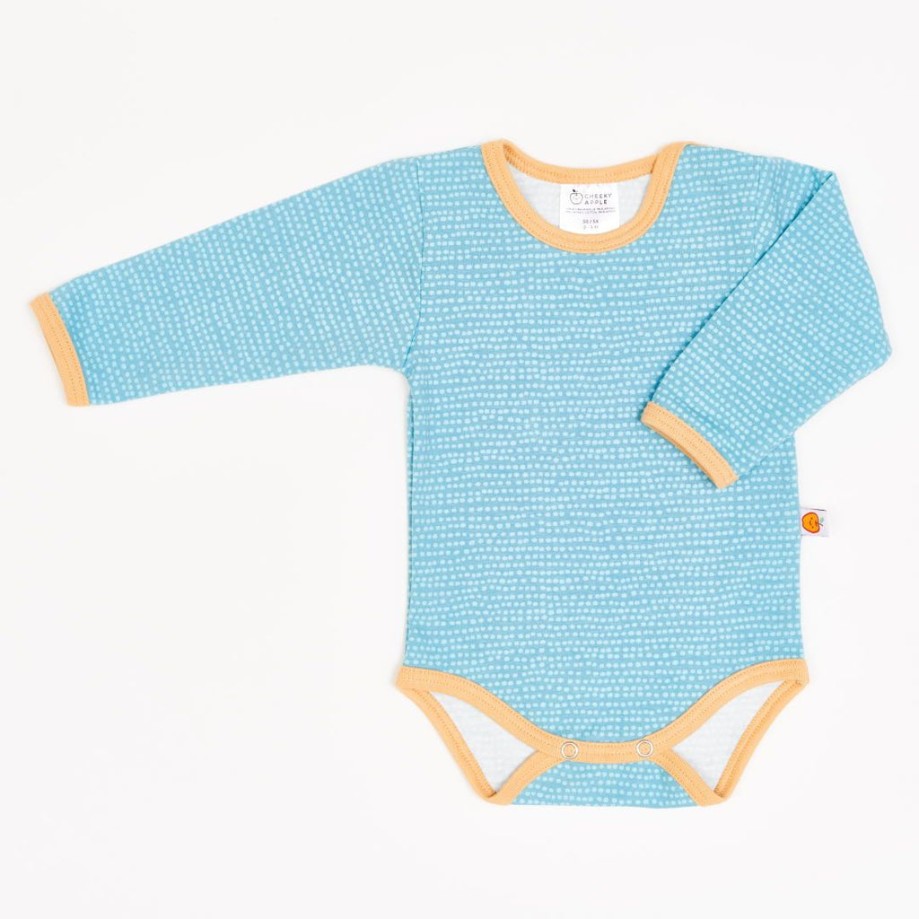 "Long-sleeve baby body ""Dotted Lines Turquoise/Cream"""