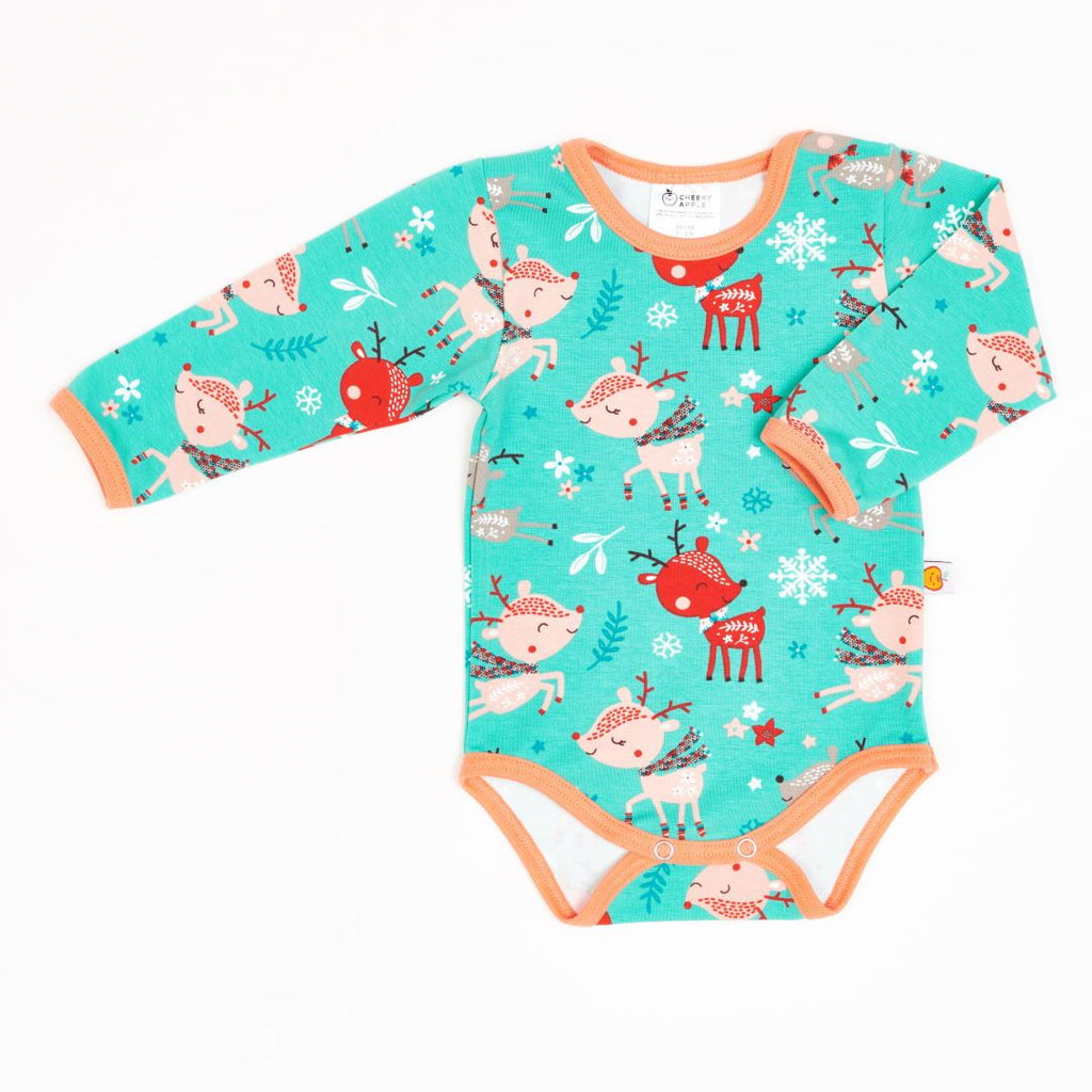 "Long-sleeve baby body ""Winter deer/Apricot"""