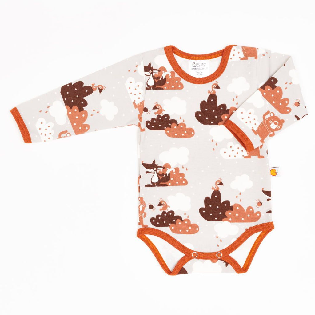 "Long-sleeve baby body ""Yo-yo/Rust"""