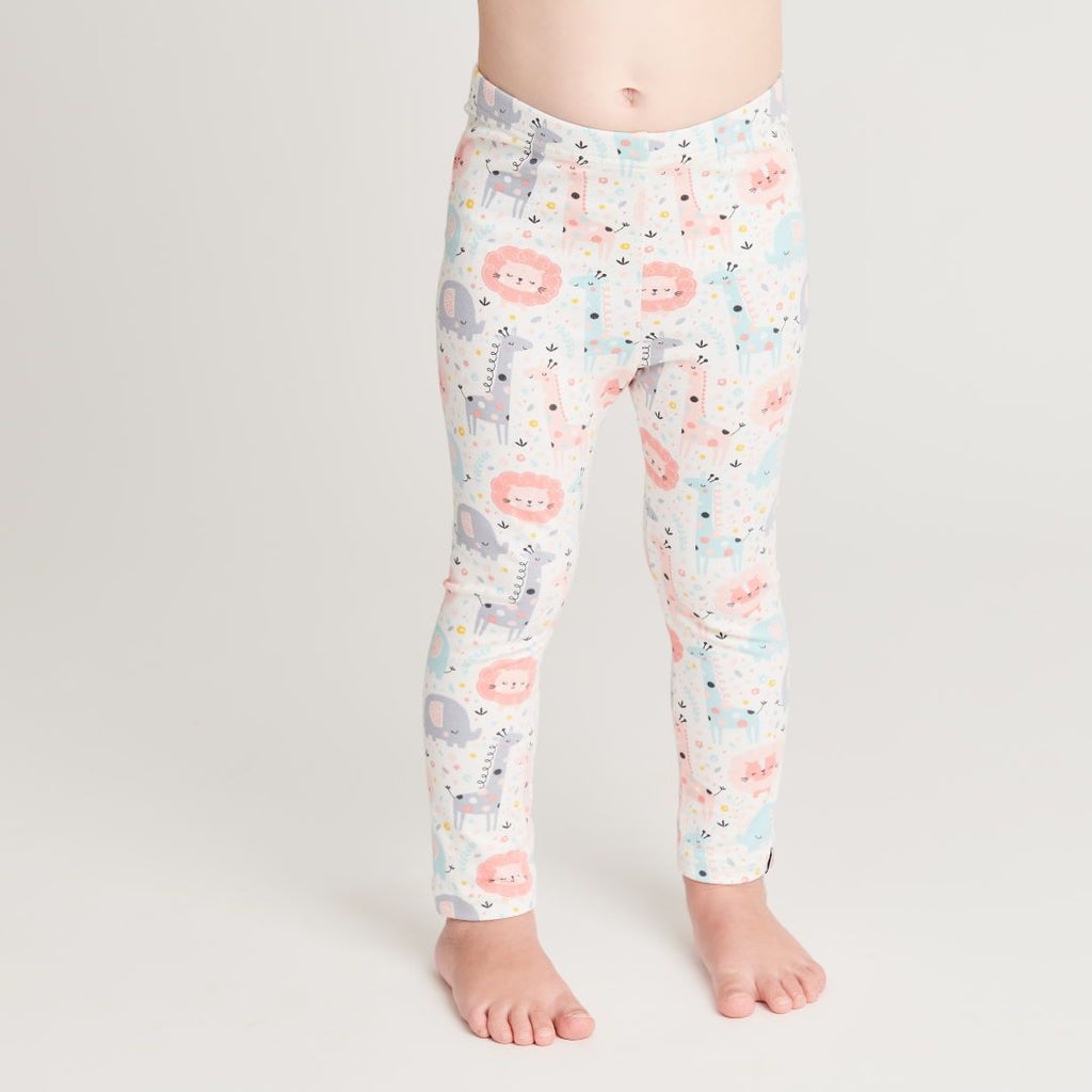 "Organic leggings ""Mini Jungle Rose"" made from 95% organic cotton and 5% elastane"