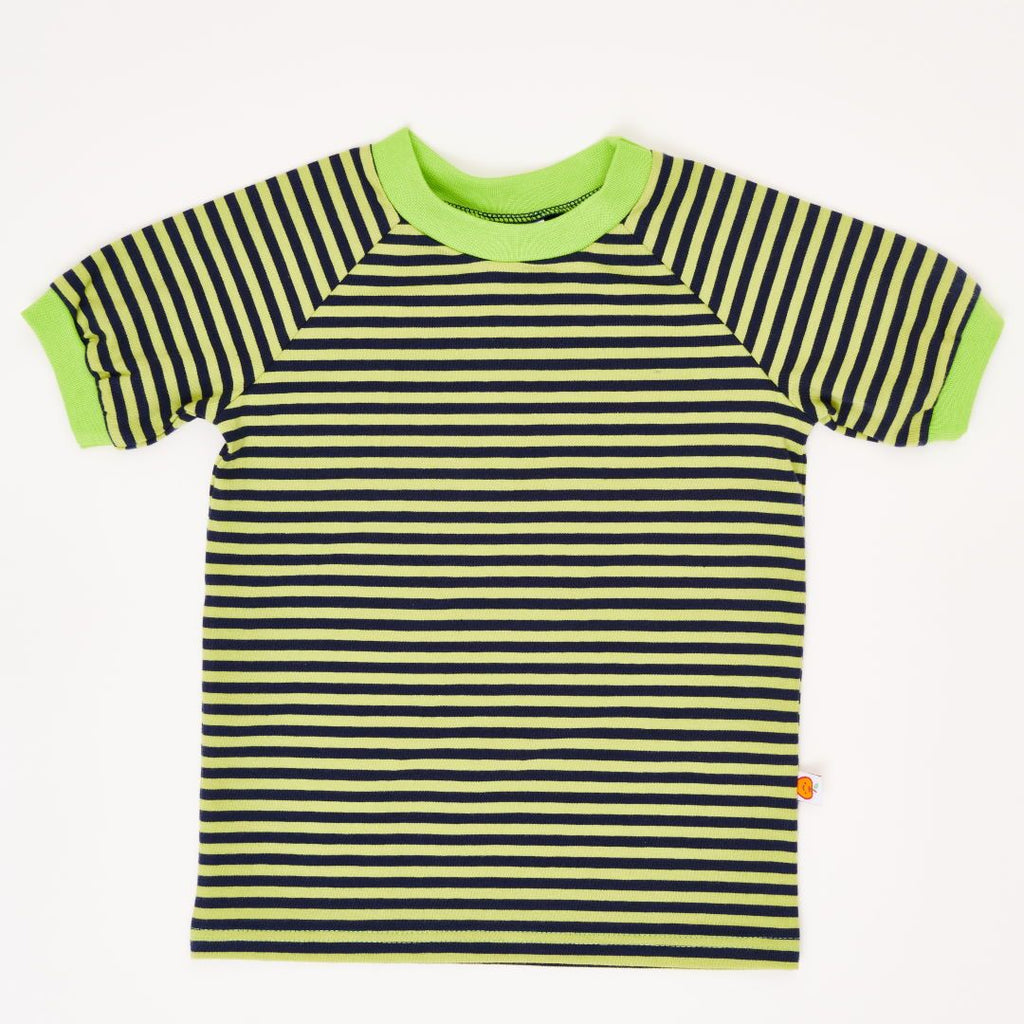 "Boys' T-shirt ""Lime-Petrol Stripes"""