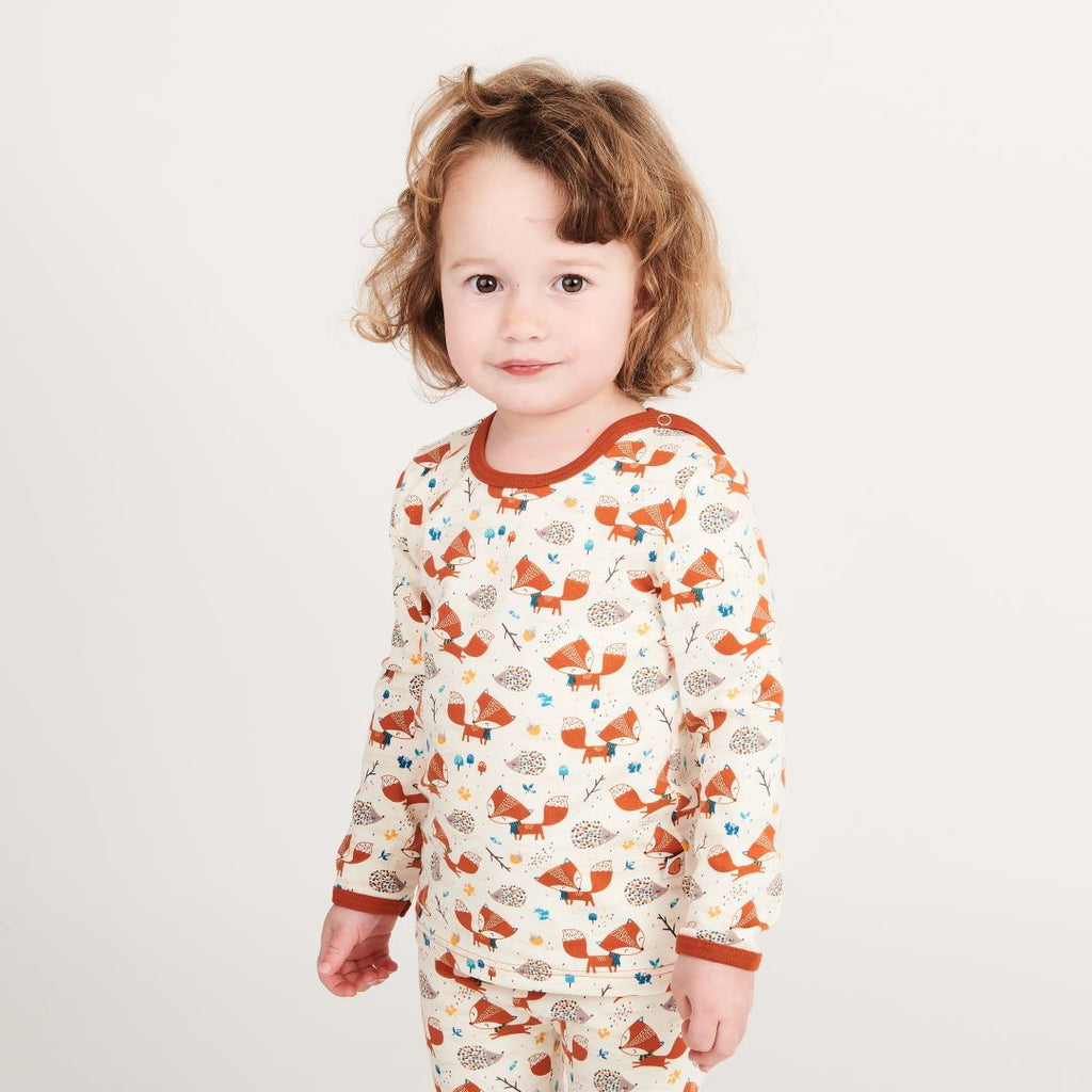 "Long-sleeve baby top ""Fox & Hedgehog/Rust"""