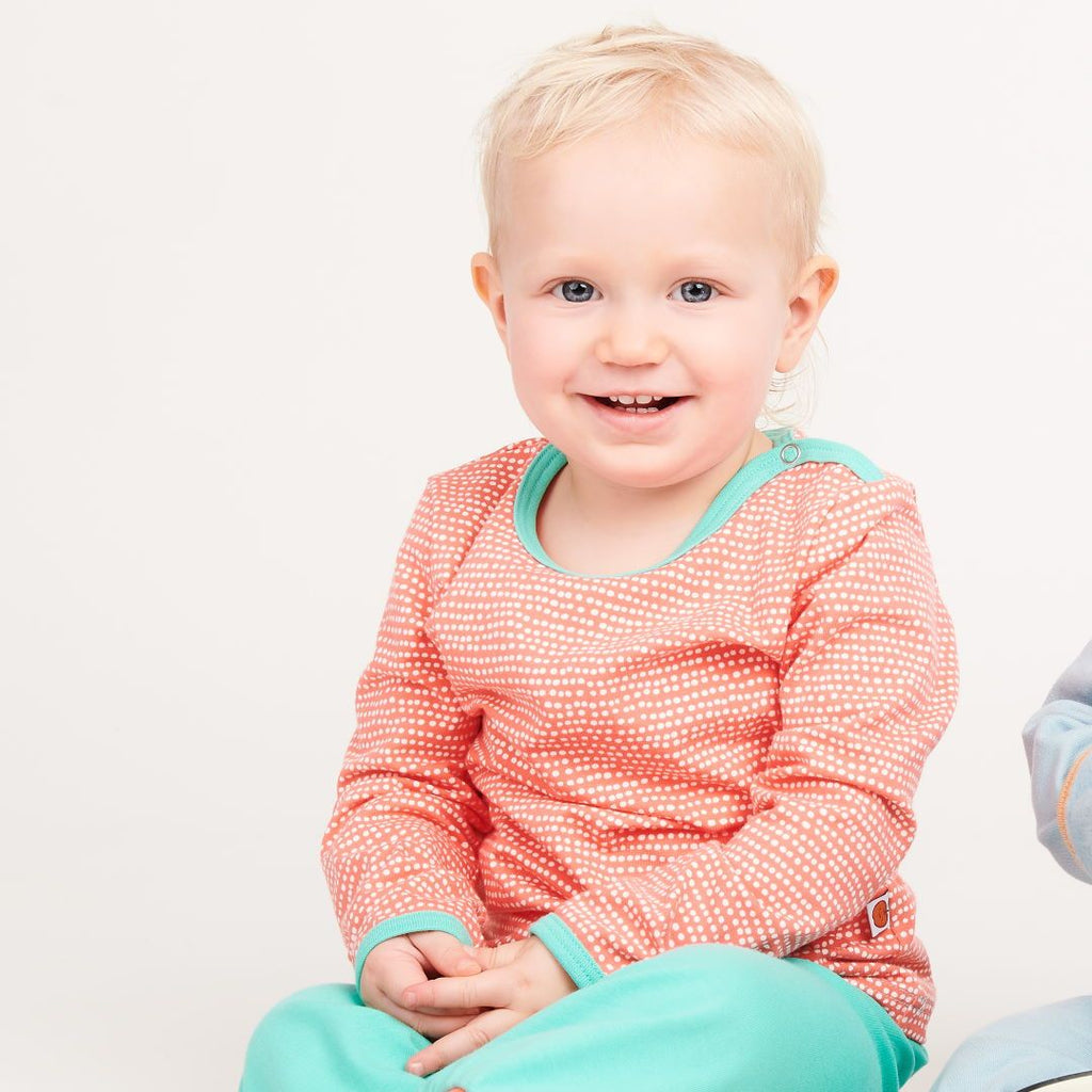 "Long-sleeve baby top ""Dotted Lines Coral/Mint"""
