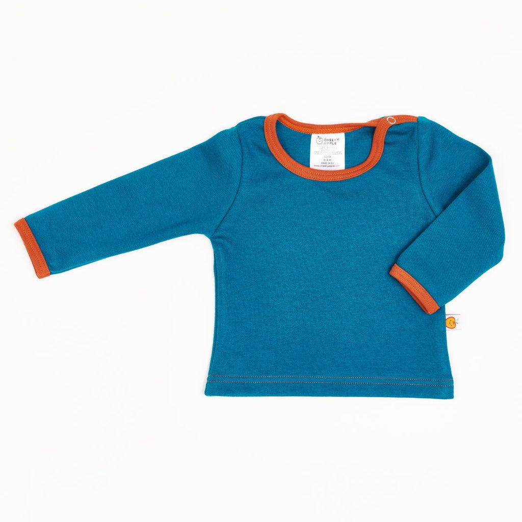 "Long-sleeve baby top ""Jacquard Petrol/Rust"""