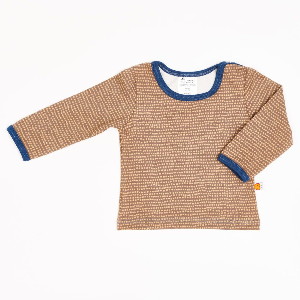 "Long-sleeve baby top ""Dotted Lines Taupe/Indigo"""