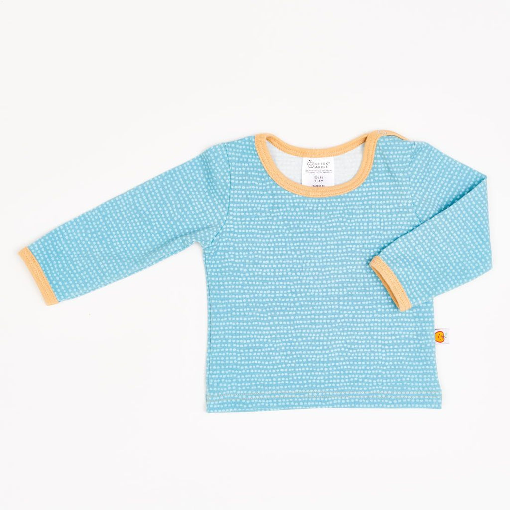 "Long-sleeve baby top ""Dotted Lines Turquoise/Cream"""