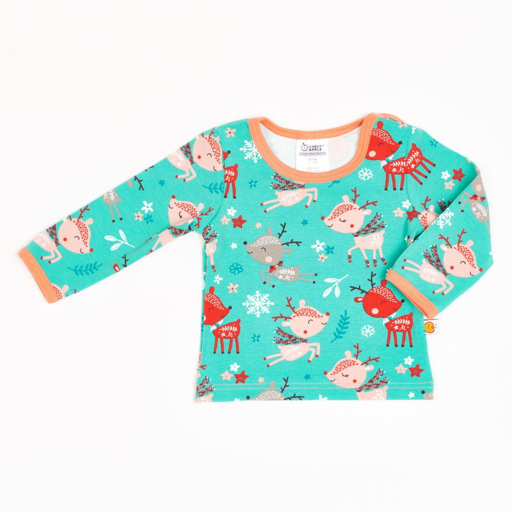 "Long-sleeve baby top ""Winter Deer/Apricot"""