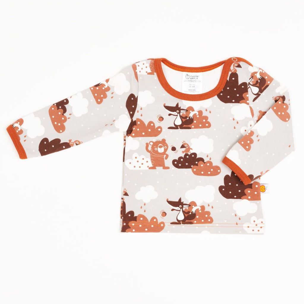 "Long-sleeve baby top ""Yo-yo/Rust"""