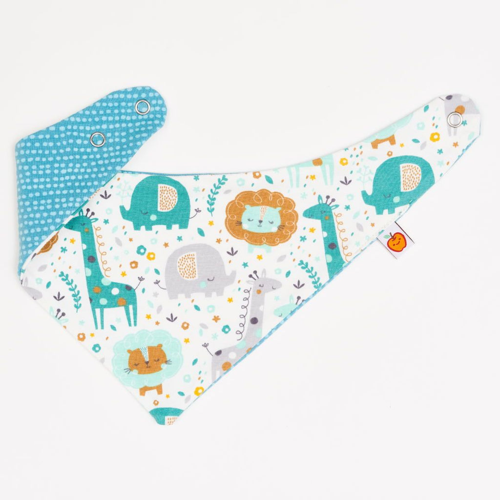 "Dribble bib ""Mini Jungle/Dotted Lines Turquoise"""