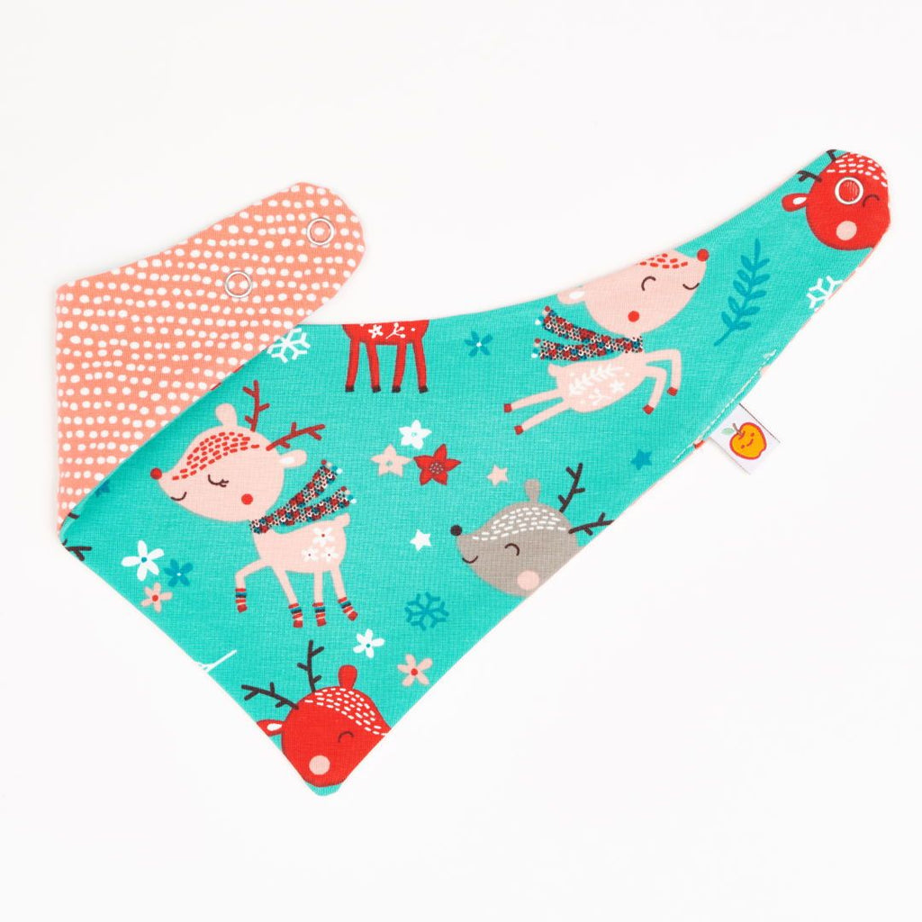 "Dribble bib ""Winter Deer/Dotted Lines Coral"""