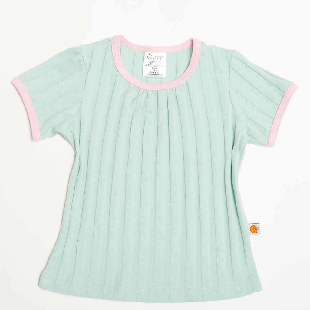 "Girls' Short-sleeve Top ""Ribbed Jersey Spearmint/Baby Pink"""
