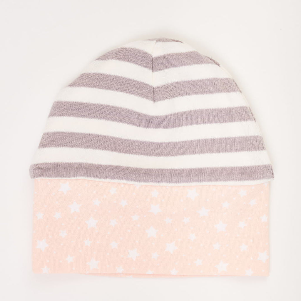 "Lined baby hat ""Starry sky peach blush"""