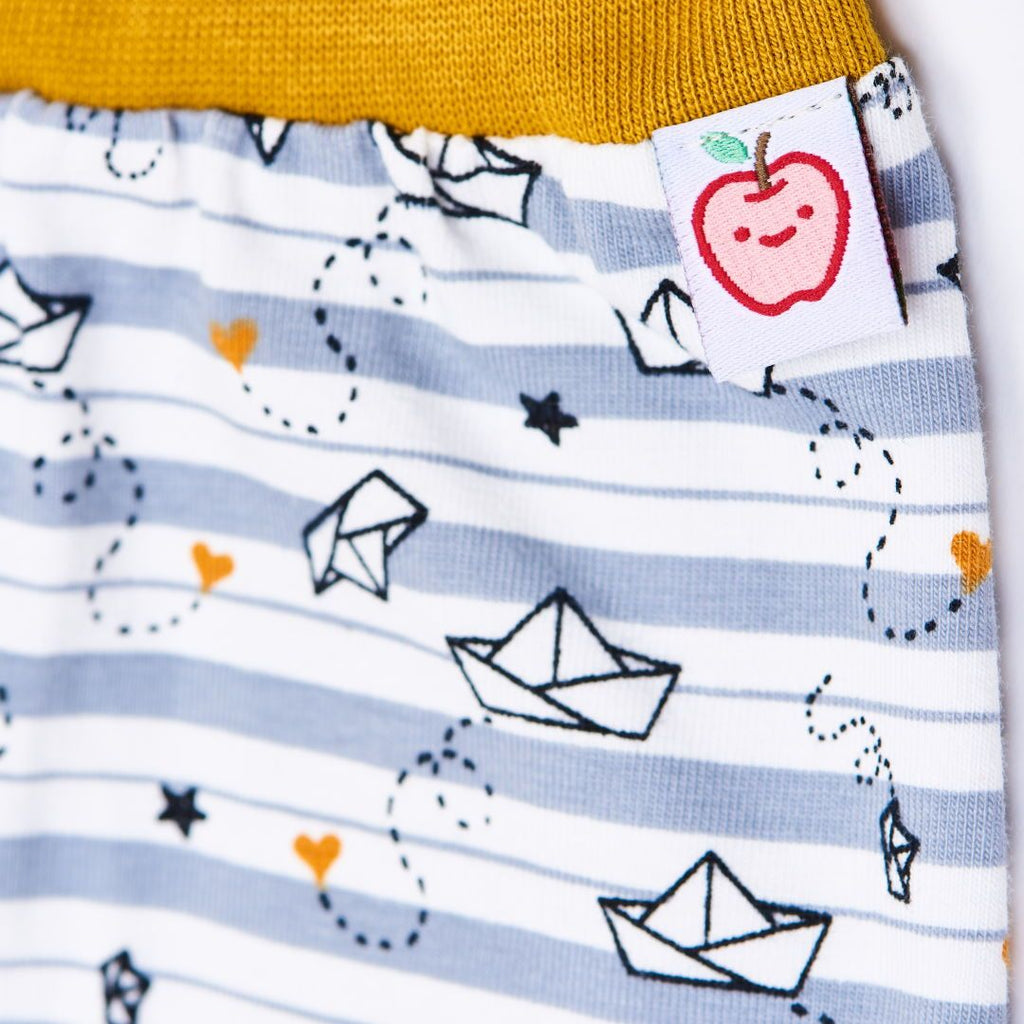 "Organic rib pants ""My little golden Ship"" made from 95% organic cotton and 5% elasthane"