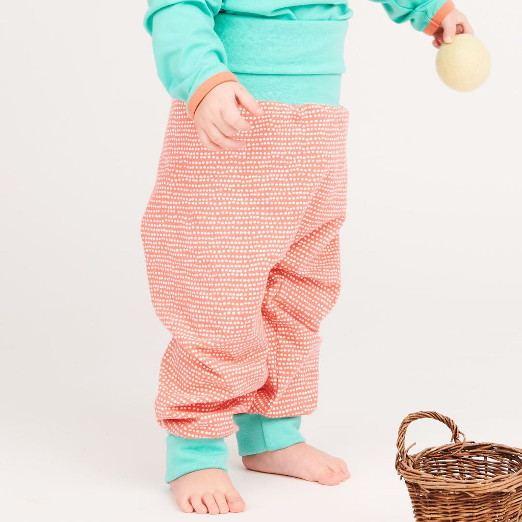 "Baby pants ""Dotted Lines Coral/Mint"""