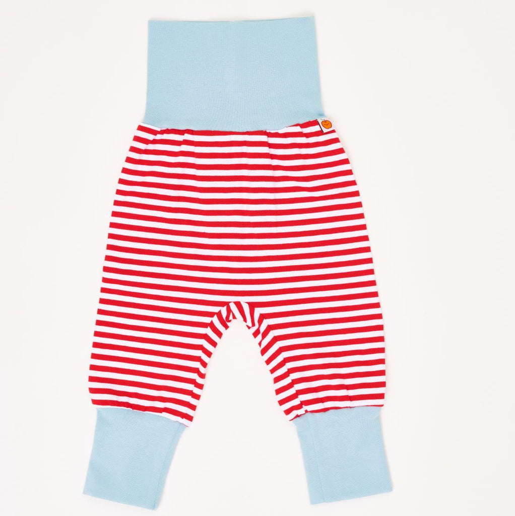 "Baby pants ""Red-White Stripes/Stone Blue"""