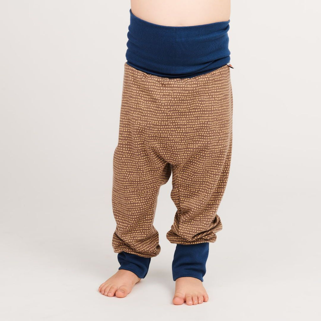 "Baby pants ""Dotted Lines Taupe/Indigo"""