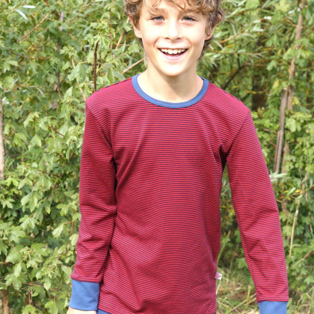 "Boys' Long-sleeve top ""dark-blue & red Stripes/Indigo"""