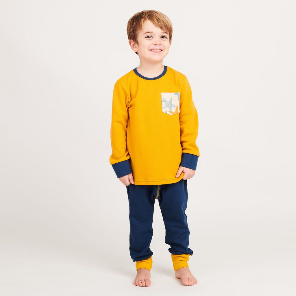 "Boys' Long-sleeve top with pocket ""Jacquard Mustard 
