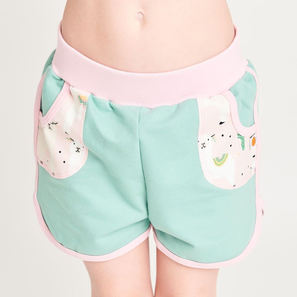 "Shorts ""Summersweat Mint Green/Alpakas Pink"""
